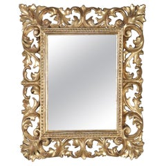 Italian Rococo Style Reticulated Foliate Giltwood Wall Mirror, 20th Century