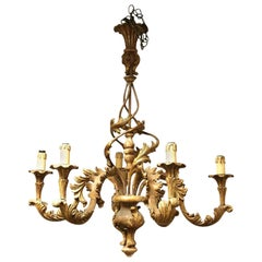 Italian Rococo Style Six-Light Painted and Parcel-Gilt Wood Chandelier