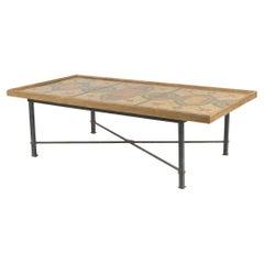 Italian Roman Pompeiian Style Marble Panel and Metal Coffee Table