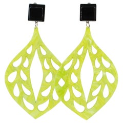 Italian Romantic Dangling Chandelier Lucite Clip Earrings Moonglow Green Carved
