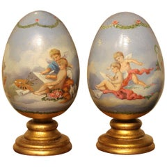 Italian Romantic Hand Painted Decorative Terracotta Eggs on Giltwood Stands
