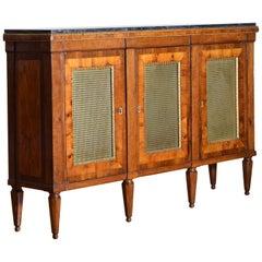 Italian, Rome Walnut & Cherrywood Veneer 3-Door Credenza Marble Top 19th Century