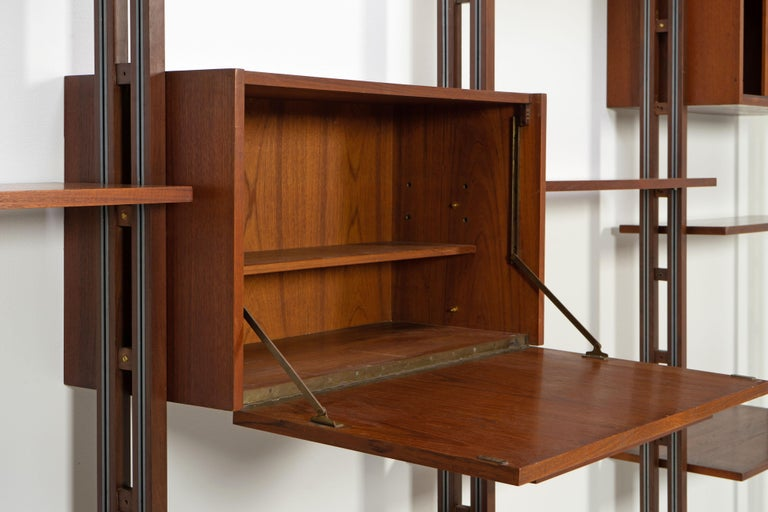 Italian Room Divider Book-Shelf by Paolo Tilche Made in Italy, 1960s, Teak For Sale 6