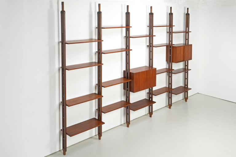 Mid-Century Modern Italian Room Divider Book-Shelf by Paolo Tilche Made in Italy, 1960s, Teak For Sale