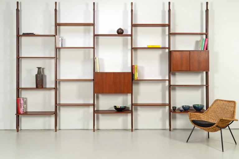 20th Century Italian Room Divider Book-Shelf by Paolo Tilche Made in Italy, 1960s, Teak For Sale