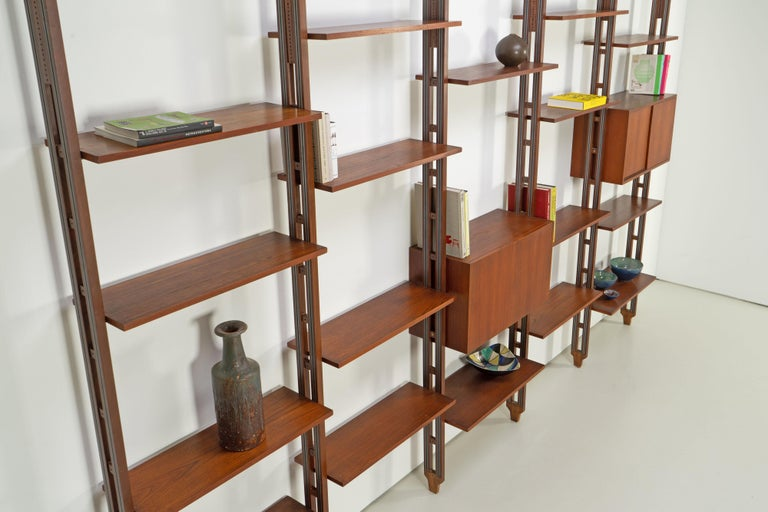 Italian Room Divider Book-Shelf by Paolo Tilche Made in Italy, 1960s, Teak For Sale 1