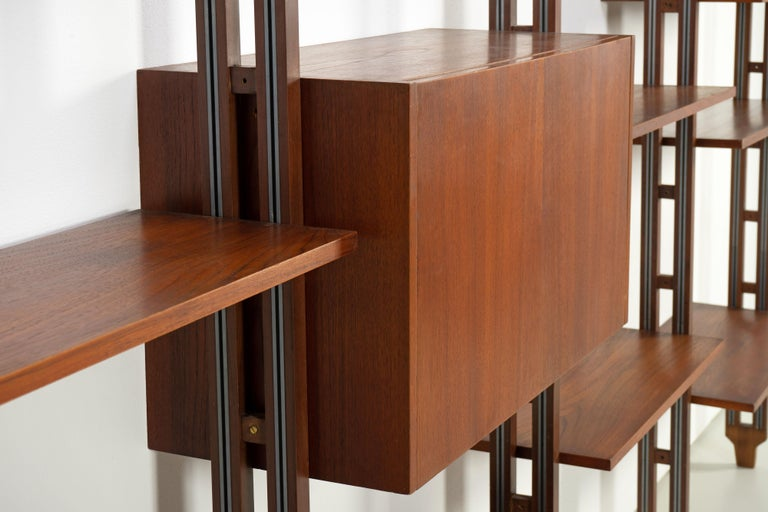 Italian Room Divider Book-Shelf by Paolo Tilche Made in Italy, 1960s, Teak For Sale 2