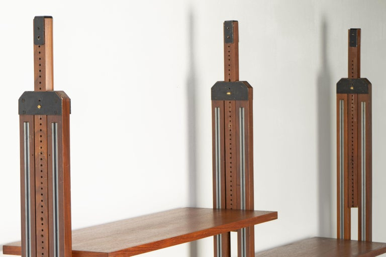 Italian Room Divider Book-Shelf by Paolo Tilche Made in Italy, 1960s, Teak For Sale 3