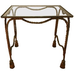Italian Rope and Tassel Gilded Iron Side Table