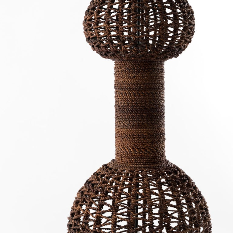 Stylish rope floor lamp produced in Italy in the 1970s, good overall condition, fiberglass diffuser.