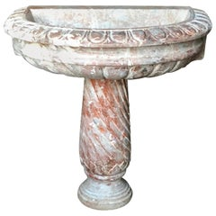 Italian Rose Marble Wall Fountain, 19th Century