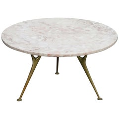 Italian Rose Pink Marble and Sculptural Brass Leg Tripod Coffee Table, c. 1950s