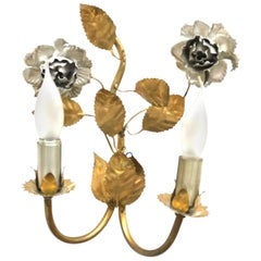 Italian Roses Two-Light Tole Sconce Gilded Metal, European, 1960s