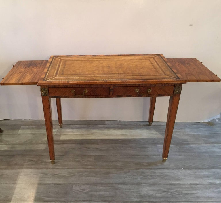 Mid-20th Century Italian Rosewood and Leather Top Table Desk