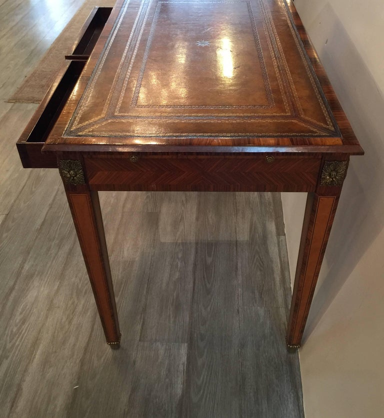Italian Rosewood and Leather Top Table Desk 2