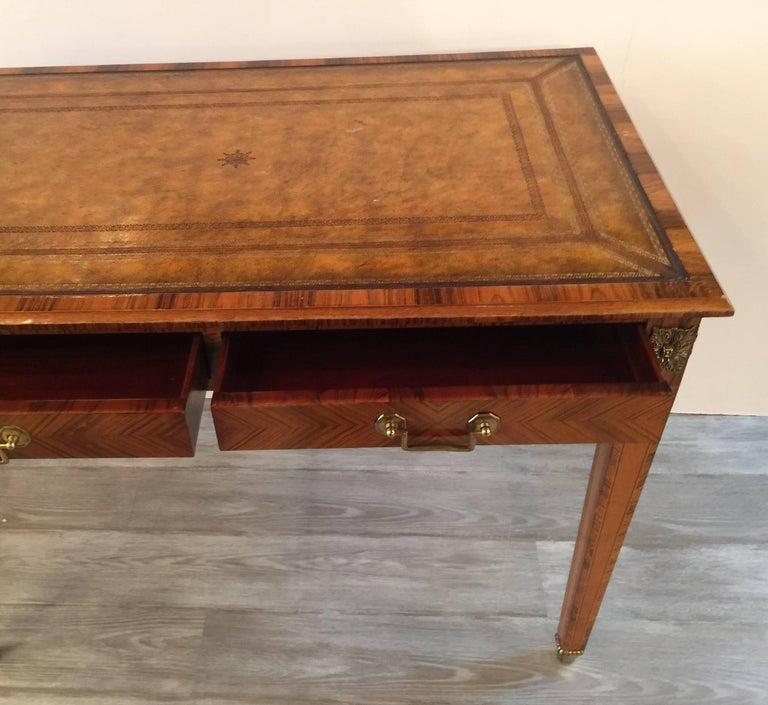 Italian Rosewood and Leather Top Table Desk 3