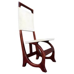 Italian Rosewood and Parchment Accent Chair After Carlo Bugatti