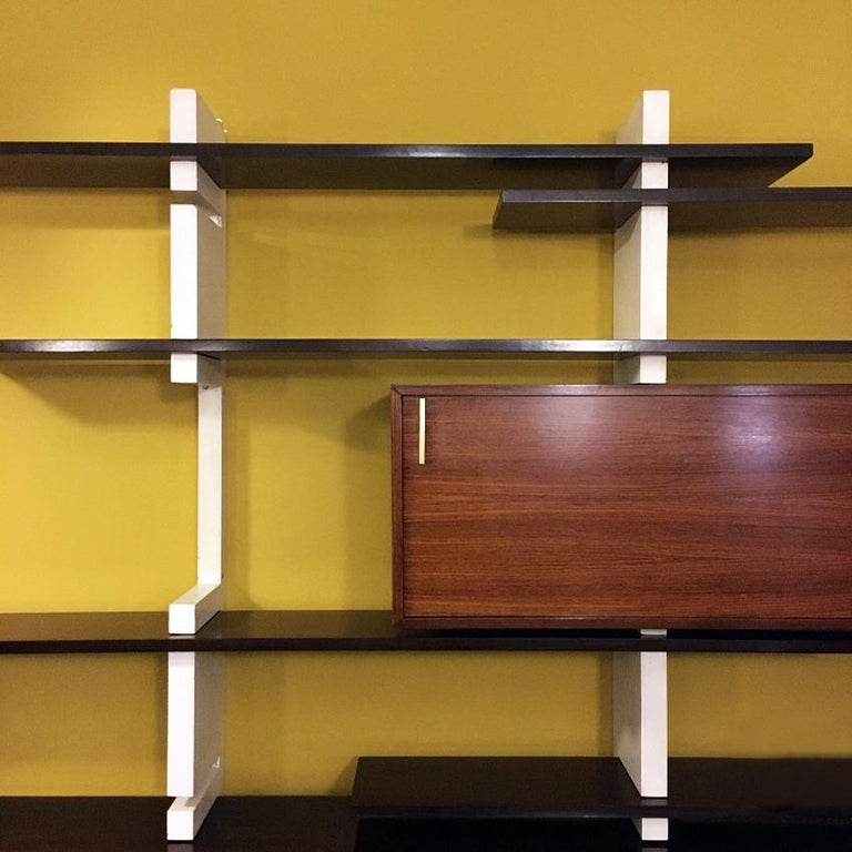 Italian Rosewood and White Wooden Extenso Bookcase by AMMA Torino, 1960s For Sale 6