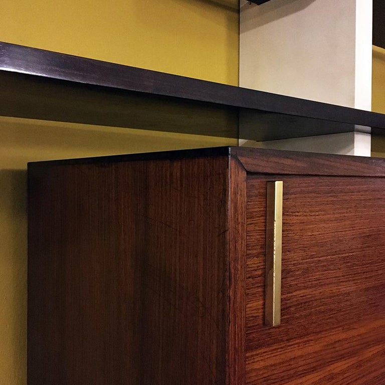 Italian Rosewood and White Wooden Extenso Bookcase by AMMA Torino, 1960s For Sale 8