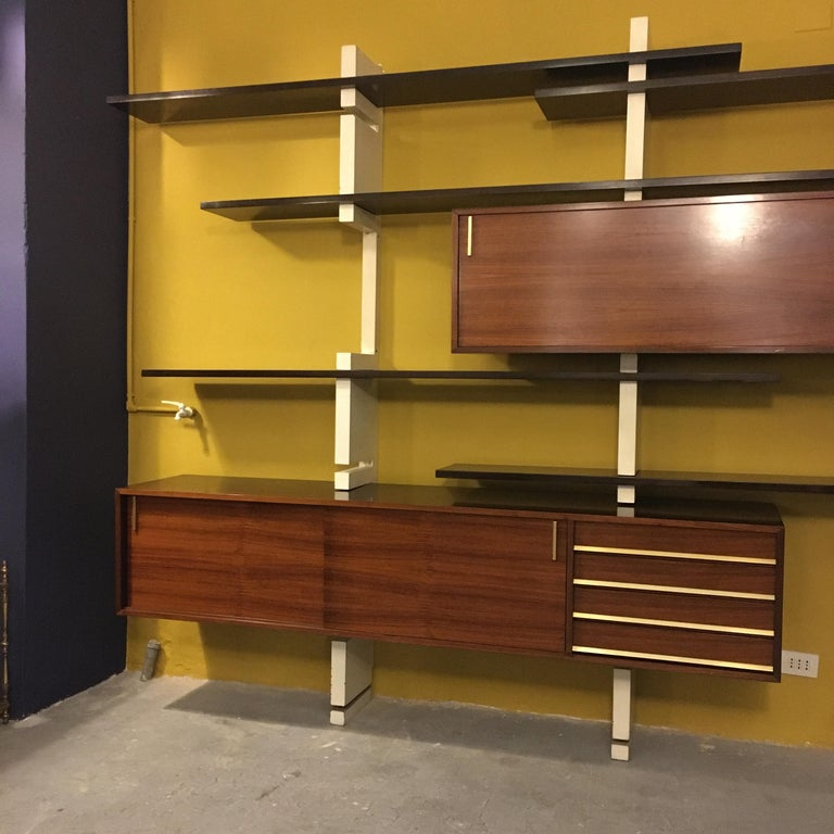 Mid-Century Modern Italian Rosewood and White Wooden Extenso Bookcase by AMMA Torino, 1960s For Sale