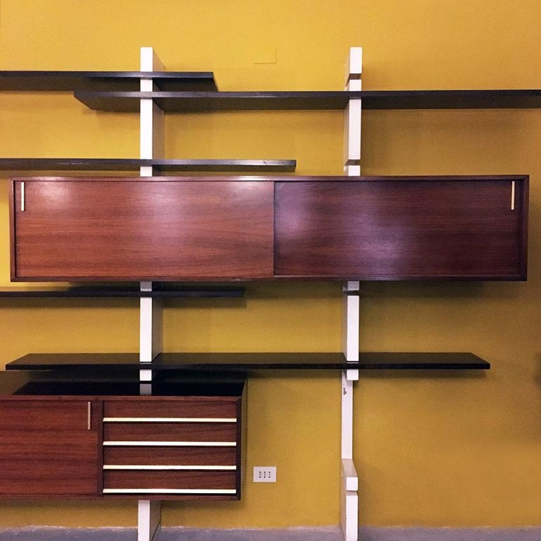Brass Italian Rosewood and White Wooden Extenso Bookcase by AMMA Torino, 1960s For Sale