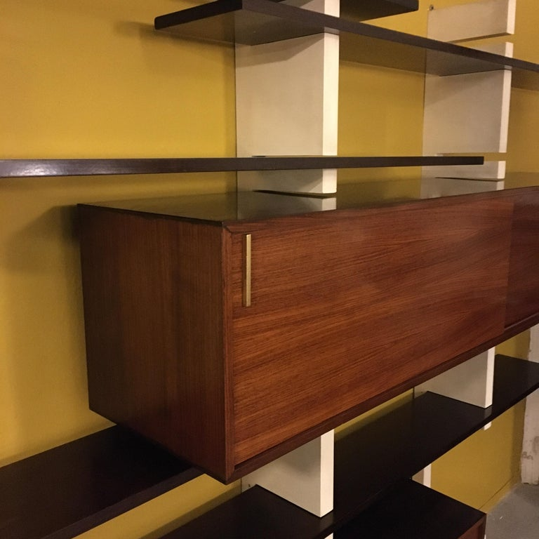 Italian Rosewood and White Wooden Extenso Bookcase by AMMA Torino, 1960s For Sale 1