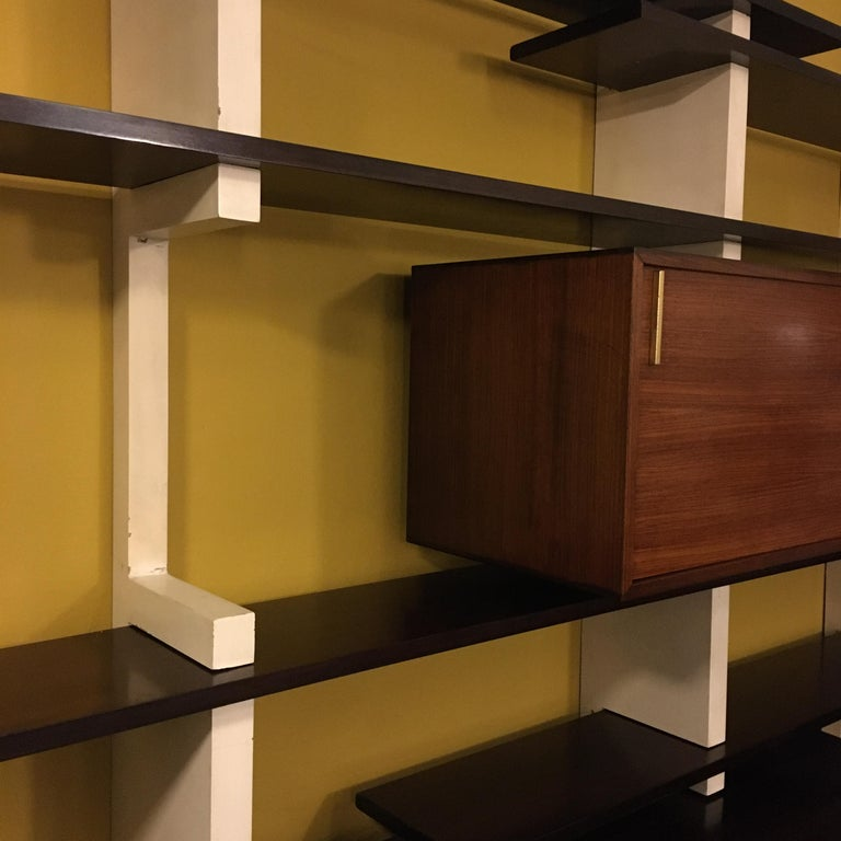 Italian Rosewood and White Wooden Extenso Bookcase by AMMA Torino, 1960s For Sale 2