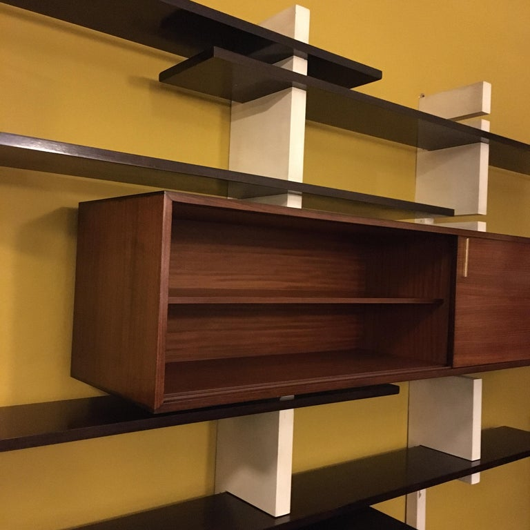 Italian Rosewood and White Wooden Extenso Bookcase by AMMA Torino, 1960s For Sale 3
