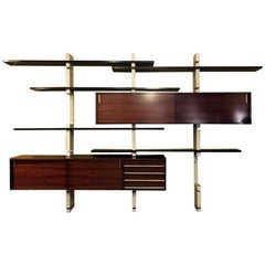 Italian Rosewood and White Wooden Extenso Bookcase by AMMA Torino, 1960s