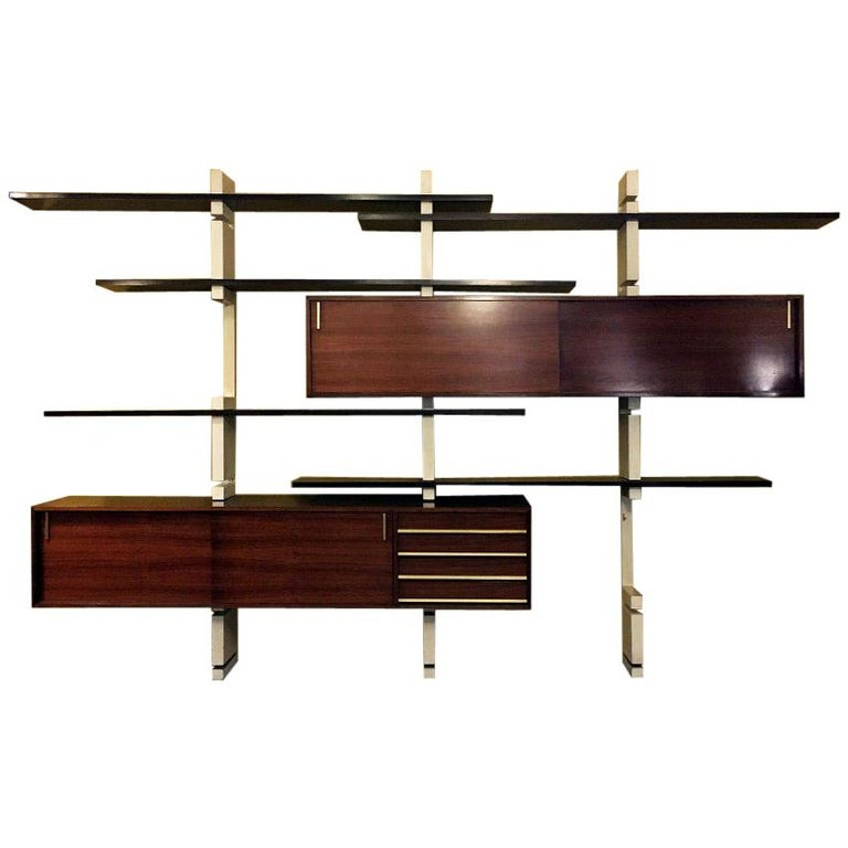 Italian Rosewood and White Wooden Extenso Bookcase by AMMA Torino, 1960s For Sale