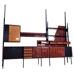 Italian Rosewood Bookcase and Sideboard by Vittorio Dassi, 1950s