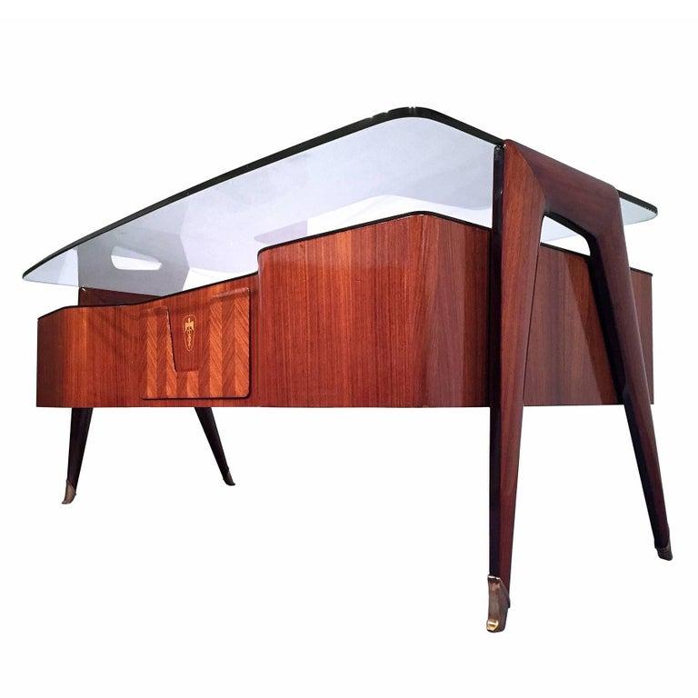 Mid-Century Italian Rosewood Executive Desk by Vittorio Dassi, 1950s