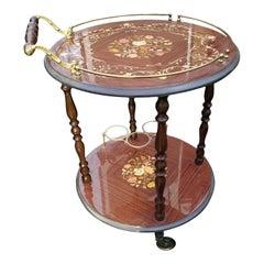 Italian Rosewood Marquetry Round Tea Cart