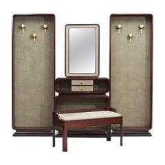 Italian Rosewood Mid-Century Modern Hall Stand Set