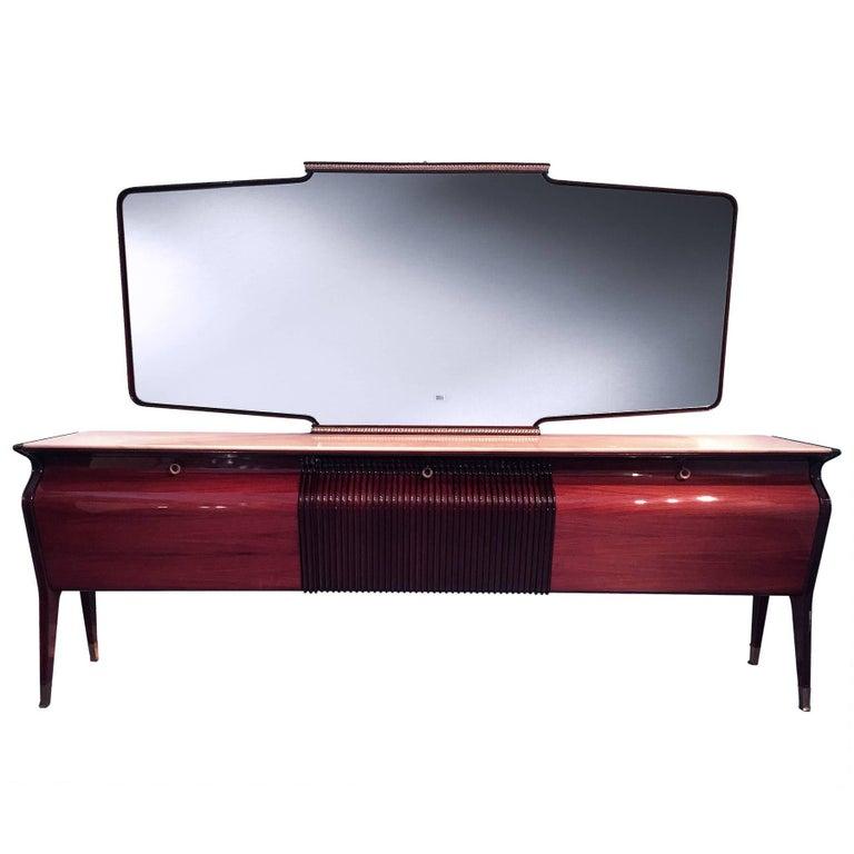 Italian Rosewood Sideboard or Credenza with Mirror by Osvaldo Borsani, 1950s