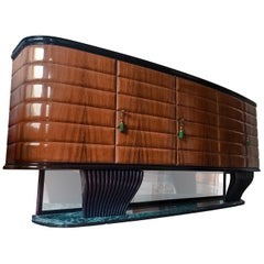 Italian Rosewood Sideboard with Black Opaline Top by Vittorio Dassi, 1950s