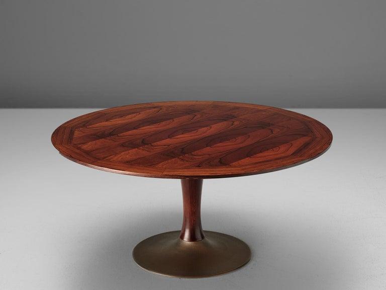 Mid-Century Modern Italian Rosewood Table with Adjustable Height