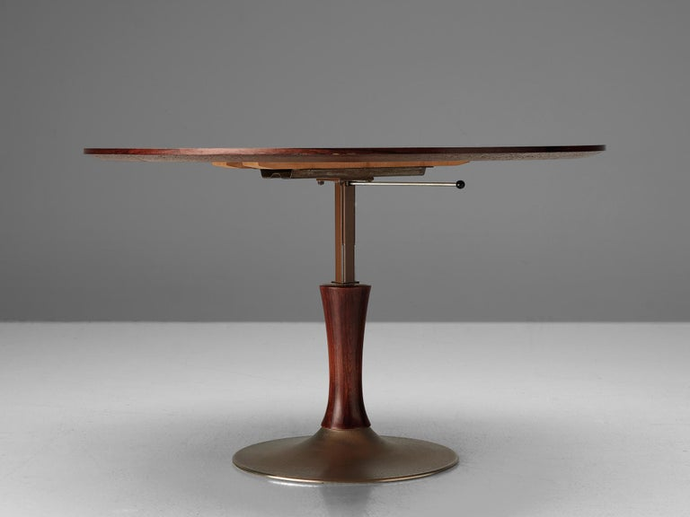 Mid-20th Century Italian Rosewood Table with Adjustable Height