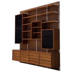 Italian Rosewood Wall Unit with Polished Steel