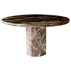 Italian Rosso Levanto Marble Round Dining Table