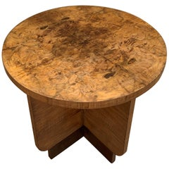 Italian Round Art Deco Burl Walnut Coffee Side Table with Ebonized Legs