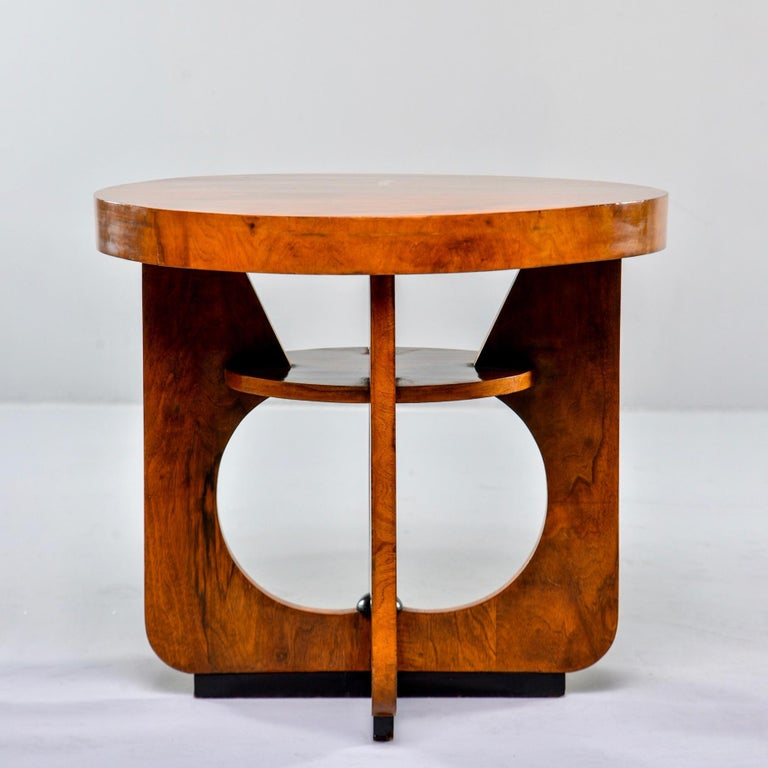 Italian Round Art Deco Side Table For Sale 1
