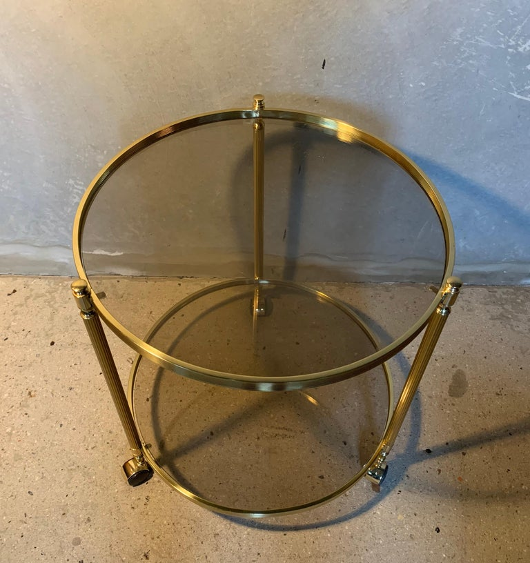 Mid-Century Modern Italian Round Brass and Glass Cocktail Bar Cart For Sale