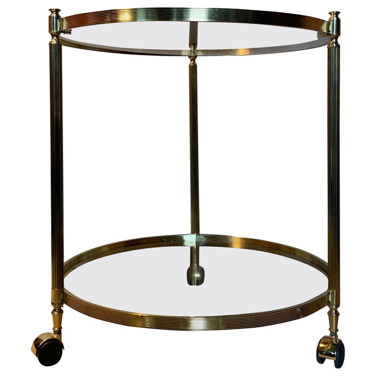 Italian Round Brass and Glass Cocktail Bar Cart For Sale