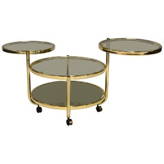 Italian Round Brass and Glass Cocktail Bar Cart in Hollywood Regency Style