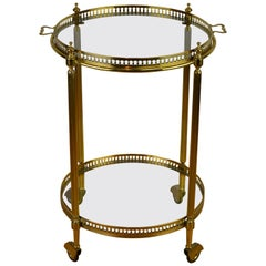 Italian Round Brass Bar Cart, Drink Trolley Cart with Removable Tray, 1950s