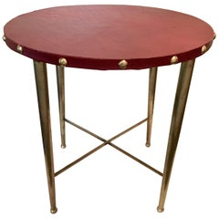 Italian Round Brass Table with Leather Top after Gio Ponti