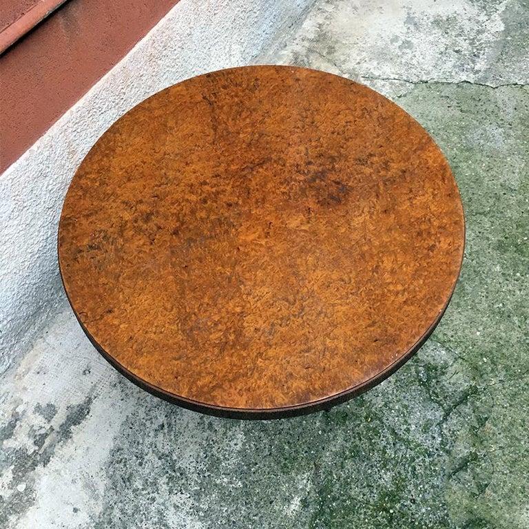 Wood Italian Round Briar Table, Designed by Pierluigi Colli, 1940s For Sale