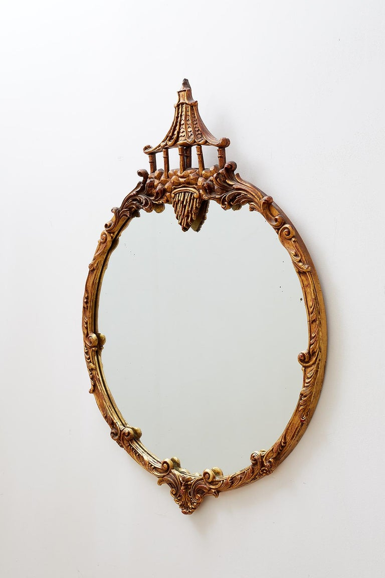 Italian Round Chinoiserie Mirror With Pagoda Crown At 1stdibs