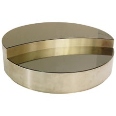 Italian Round Coffee Table in Brushed Chrome Smoked Mirror Top